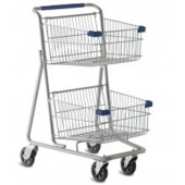 Dual Basket Grocery Shopping Cart - Grey