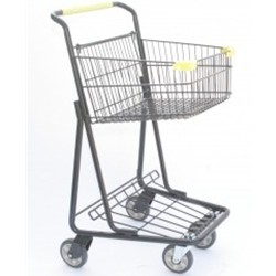 Single Basket Two-tier Shopping Cart
